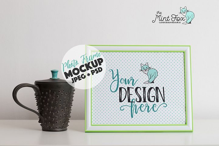 Photo Frame Mockup with Coffee Mug
