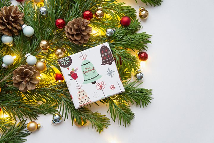 Christmas and New Year background with giftbox