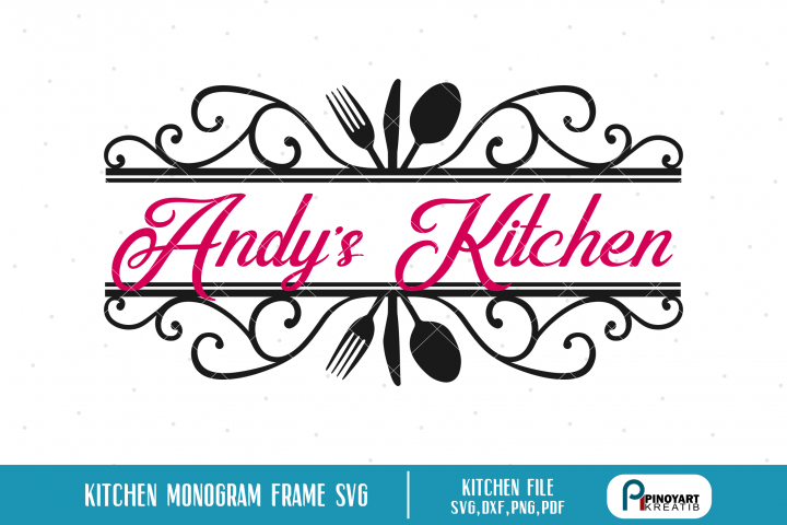 Kitchen Split Monogram Frame svg - a kitchen monogram frame