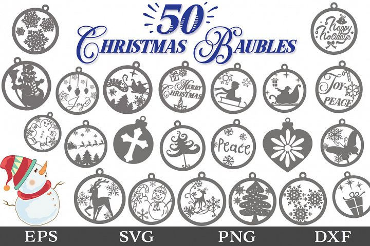 50 Christmas Baubles SVG Designs - Christmas Decorations SVG
