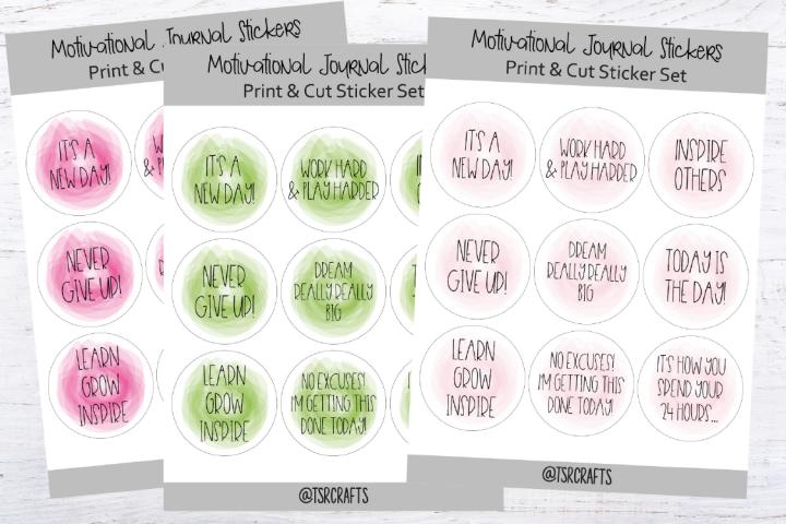 Motivational Print and Cut Stickers - Set #B1