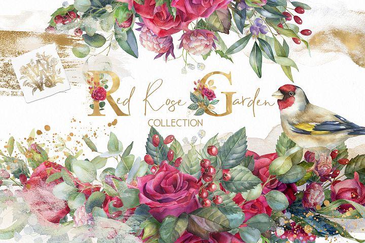 Red Rose garden floral collection, marsala wedding clip art