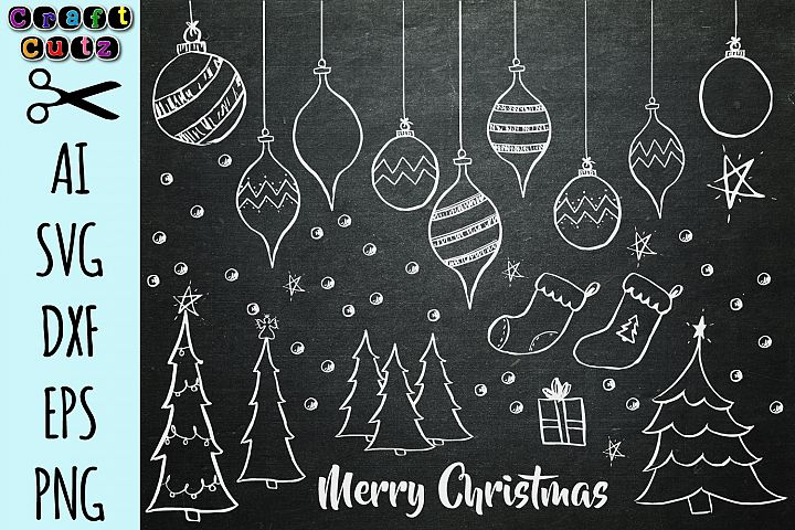 Hand Drawn Christmas Chalkboard Clipart