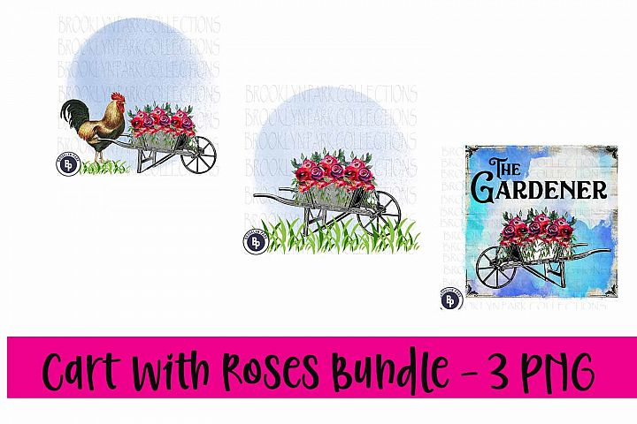 Vintage Cart Roses Bundle, Rooster, Print, Sublimation PNG