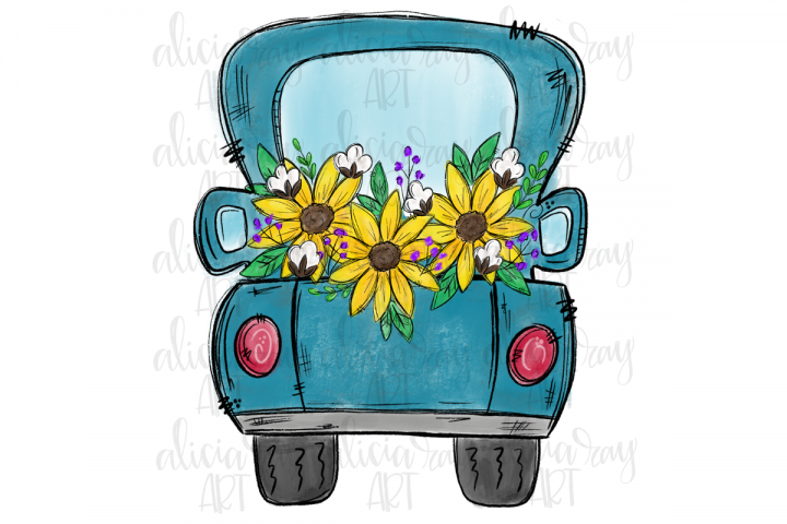 Fall Sunflower Truck Sublimation PNG Digital Download