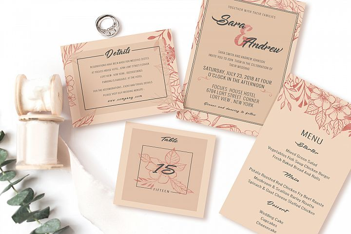 Pink floral invitation set