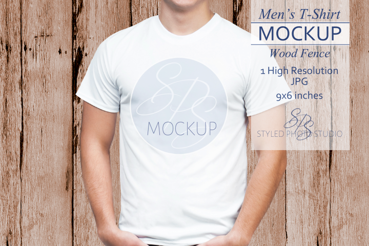 Mens Shirt Mockup Wood Fence 3.2 Aspect Ratio