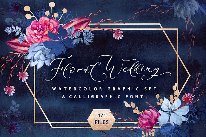 Floral wedding graphic & font set