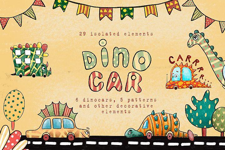 Dino Car - Clip Art Set