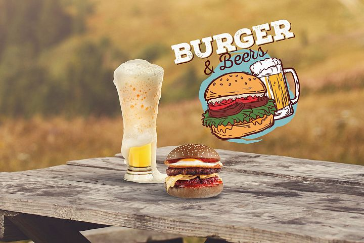 Beer and Burger Mock-up #10