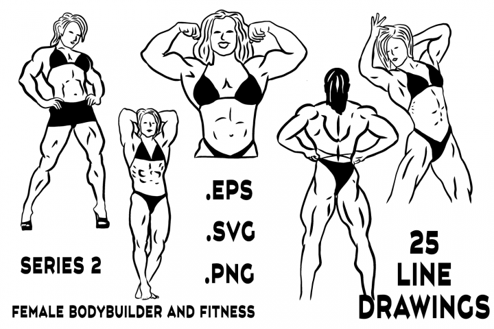 Female Bodybuilder and Fitness Line Drawings Series 2
