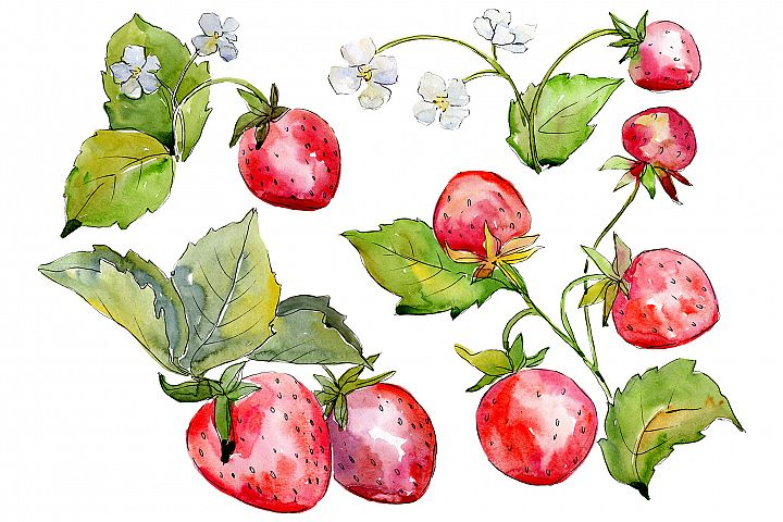 Juicy strawberry watercolor png