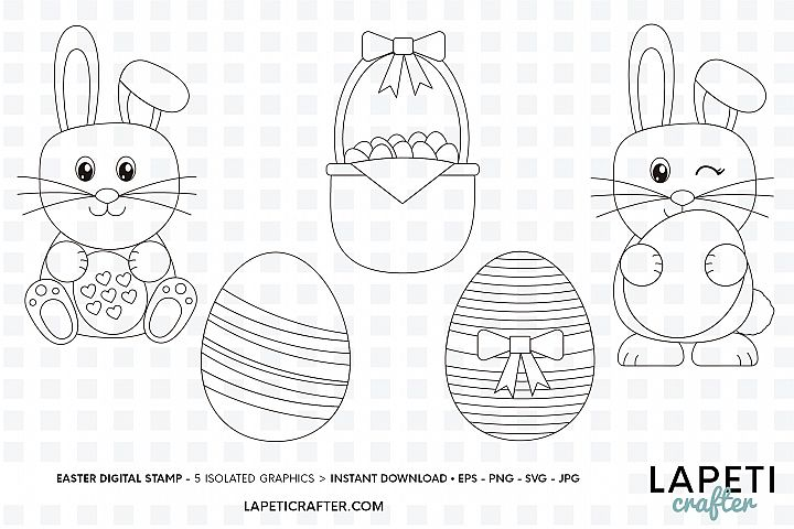 Easter digital stamp, easter clipart, easter colouring pages