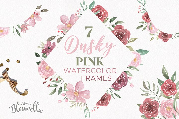 Dusky Pink Frames Watercolor Floral Border Flowers Pink Red