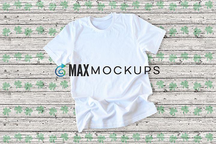 White shirt Mockup, St Patricks Day Irish shamrocks flatlay