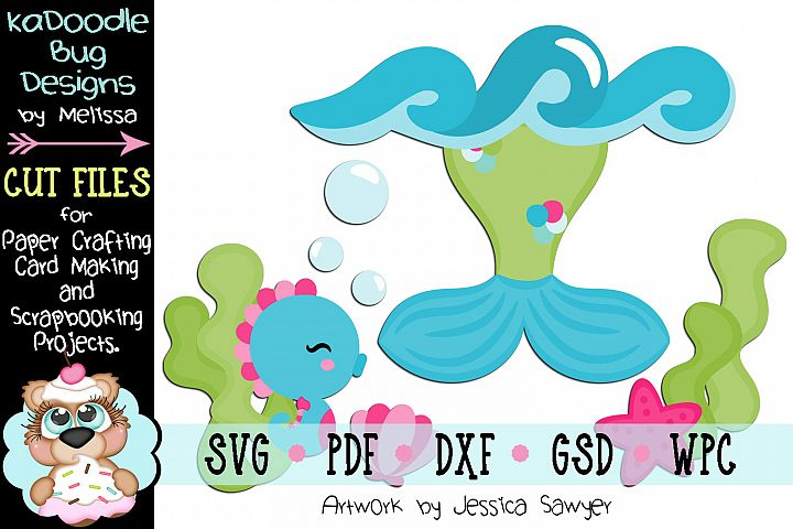 Underwater Mermaid Tail Cut File - SVG PDF DXF GSD WPC