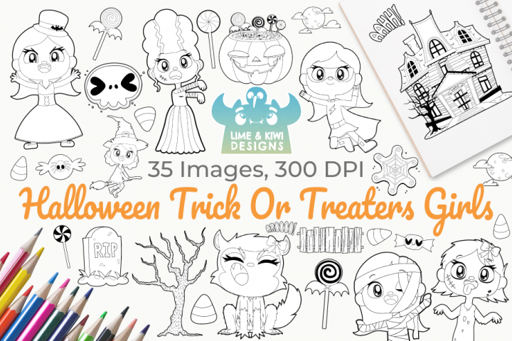 Halloween Trick Or Treaters Girls Digital Stamps