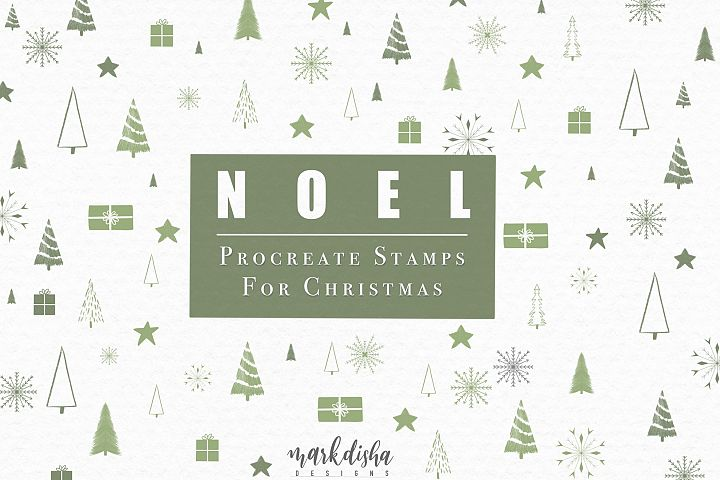 NOEL Procreate Christmas Elements Brush Stamps