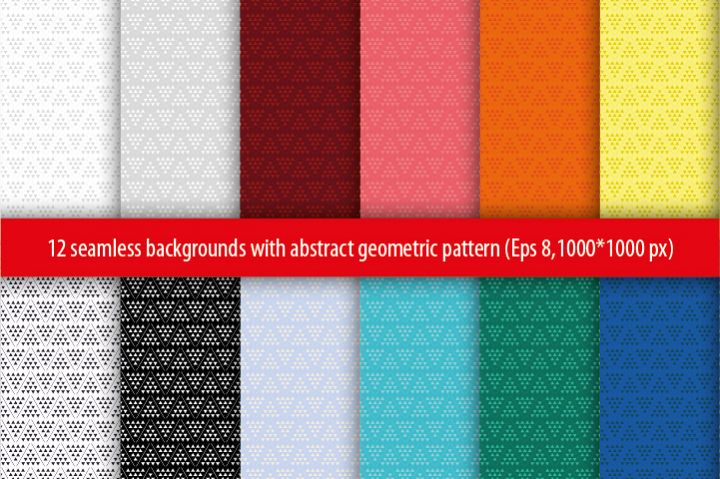 Set of 12 seamless vector background with abstract geometric pattern.