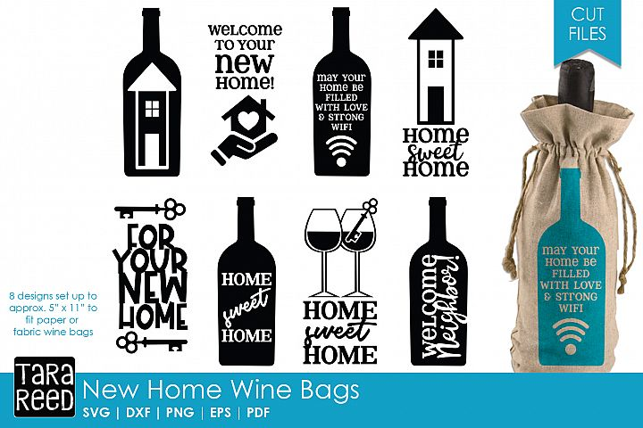 New Home Gift Wine Bags - SVG or Cut Files for Crafters