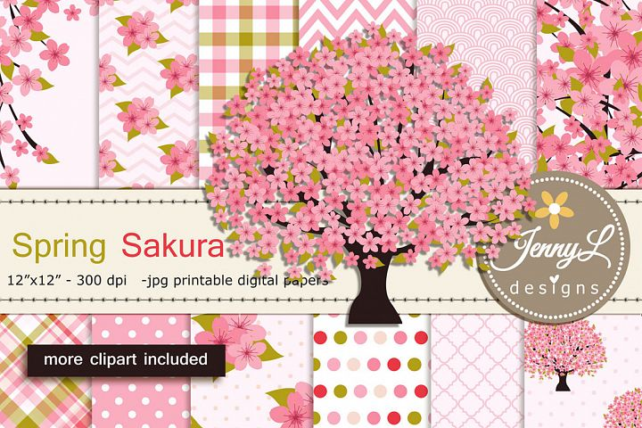 Cherry Blossoms Digital Papers and Sakura Clipart