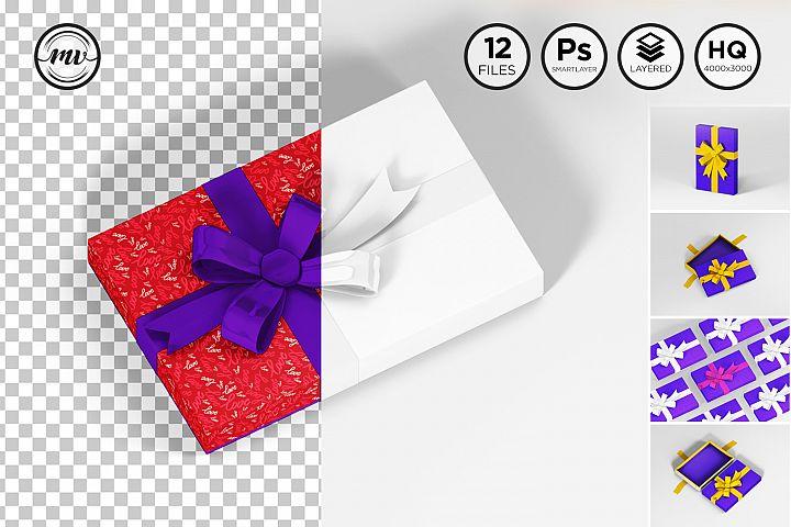 Gift box Flat Rectangle Mockups V1