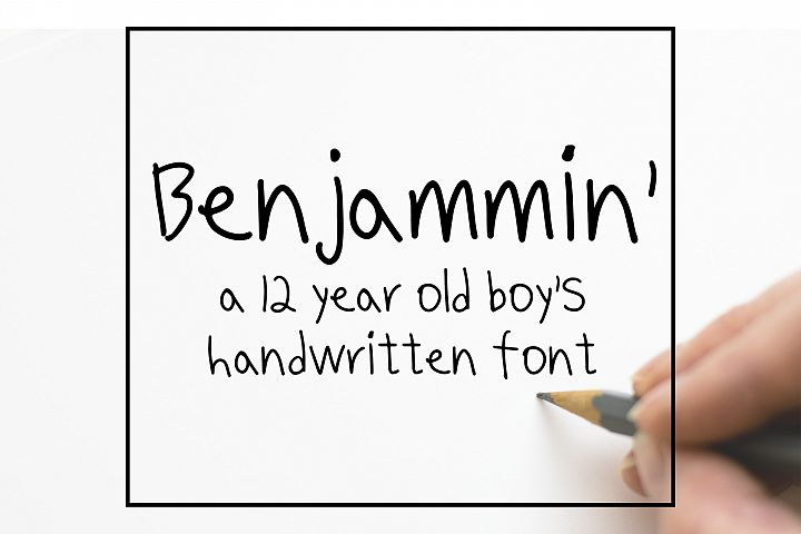 Benjammin' - Kid's Handwritten Font example