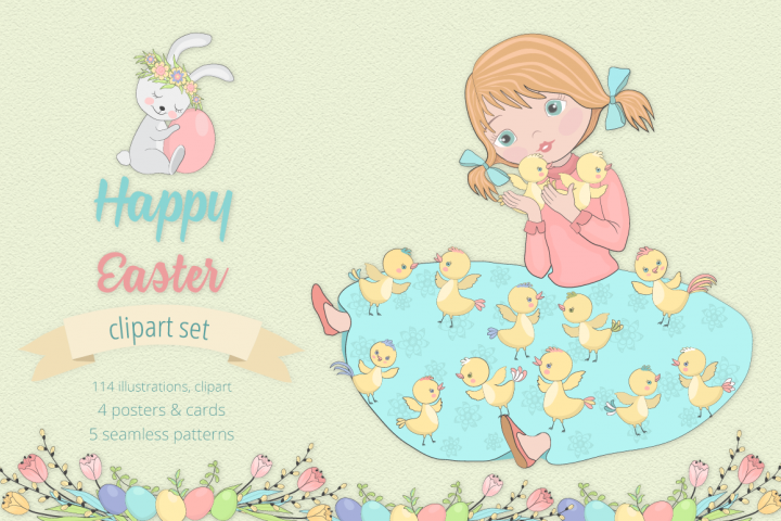 Happy Easter Illustration Set