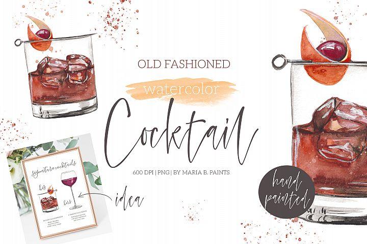 Old Fashioned Classic Cocktail Watercolor Clipart Illustrati