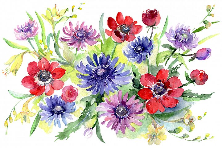 Bouquet of wild flowers Watercolor pn