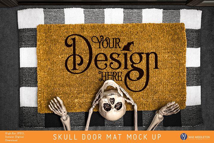 Halloween Skull Door Mat mock up