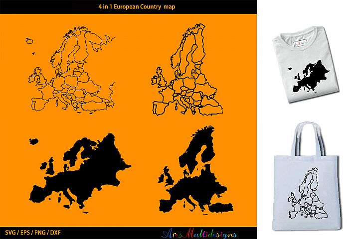 European Country map silhouette vector / outline silhouette