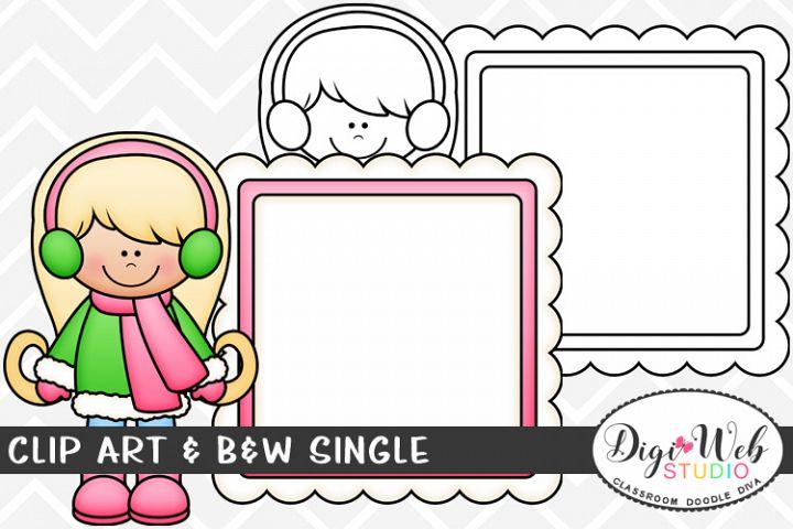 Clip Art & B&W Single - Winter Message Board Girl