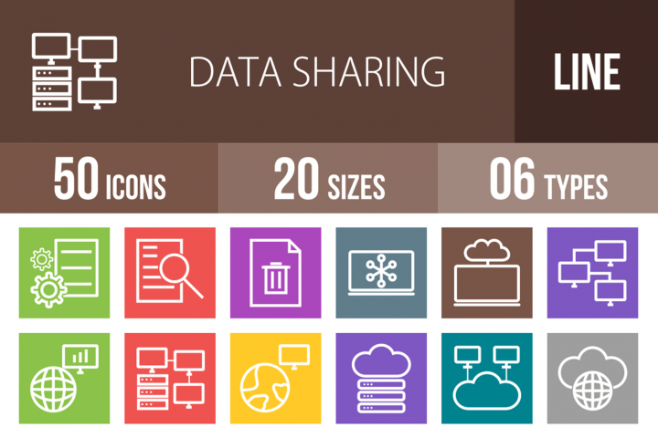 50 Data Sharing Line Multicolor B/G Icons