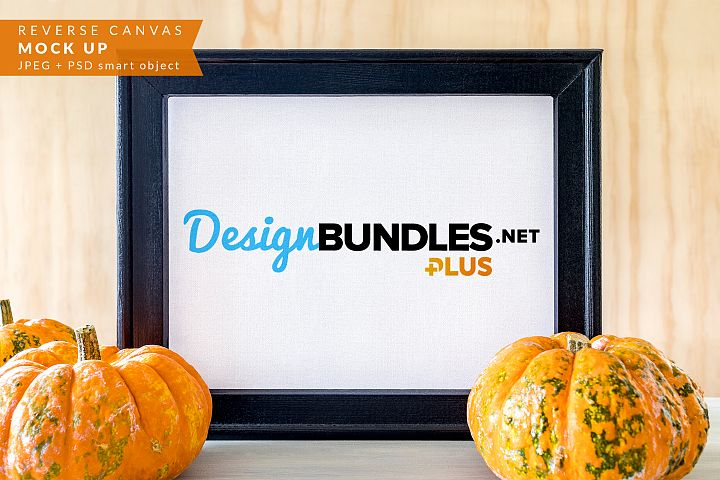Reverse Canvas Sign with pumpkins Mock up