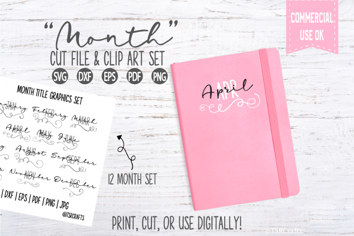 12 Month Title Bundle - SVG cut files and PNG clipart