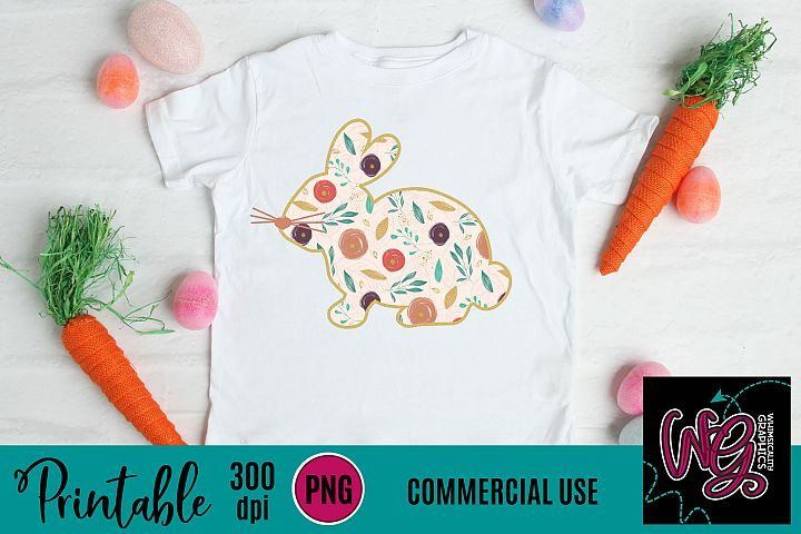 Floral Bunny Silhouette Sublimation Printable