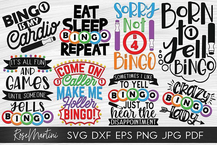 Bundle Of 8 Bingo Designs SVG Bingo SVG Bingo lover