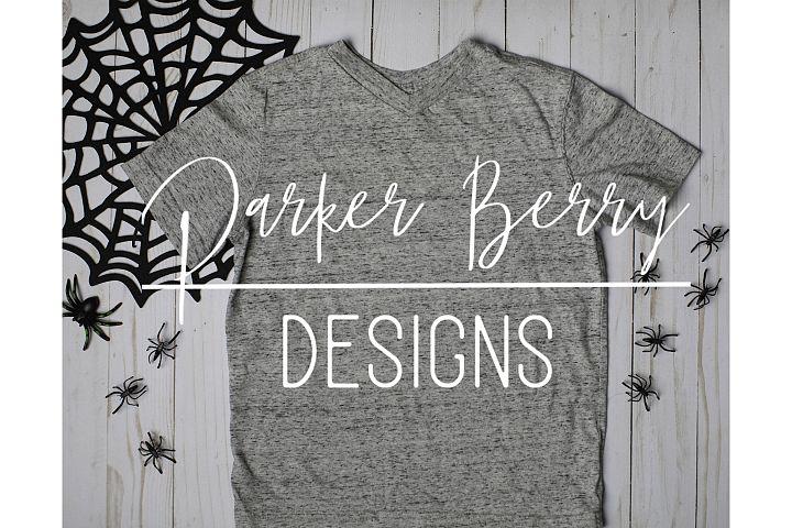 Grey Blank Shirt Halloween Mock up, spider and web