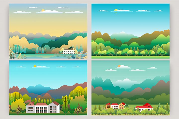 Hills, mountains and farm countryside landscape illustration