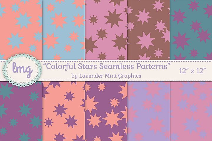 Colorful Stars Seamless Pattern in Purple, Pink, Teal, Peach