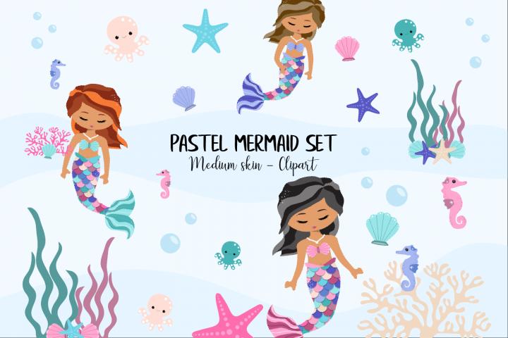 Pastel Mermaid Set - Medium Skin Clipart