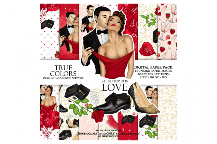 Valentines Day Couple Love Digital Paper Red Dress Girl Fash