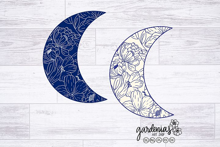 Crescent Moon with Flowers SVG | Floral Moon Cut Files