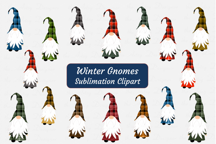 Winter Gnomes Buffalo Plaid Sublimation ClipArt Bundle