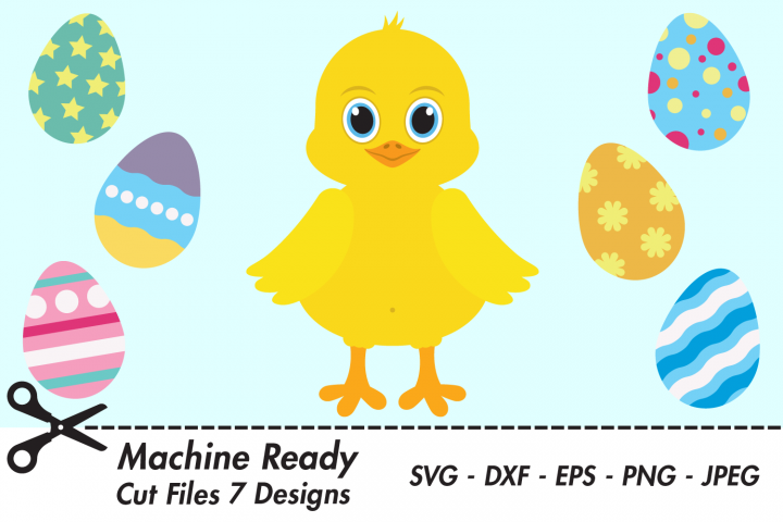 Cute Chick SVG Cut Files, Happy Easter Chick, Chicken Eggs