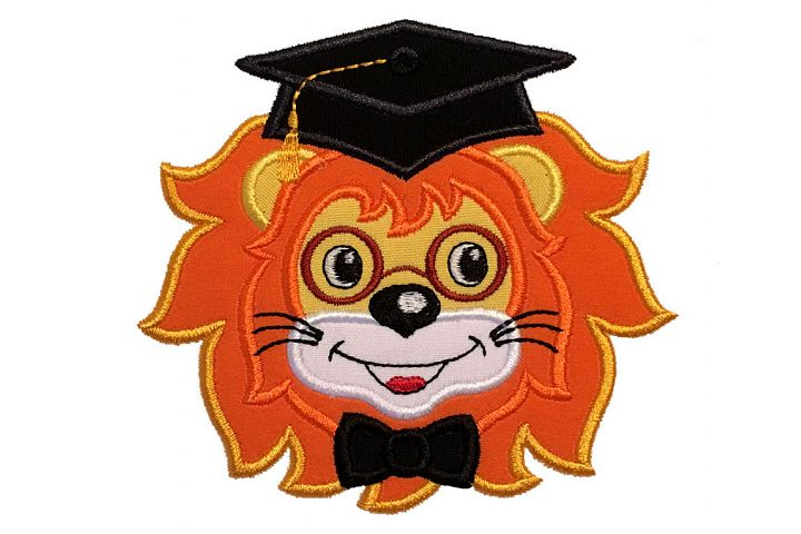 Graduation Baby Lion Machine Embroidery Applique Design.
