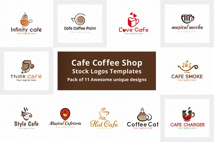 Cafe Coffee Shop Stock Logo Templates Pack of 11