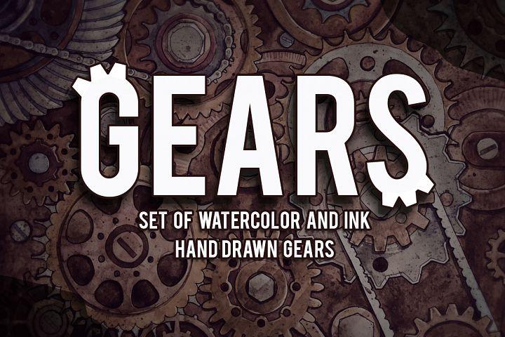 Watercolor Gears example image 1