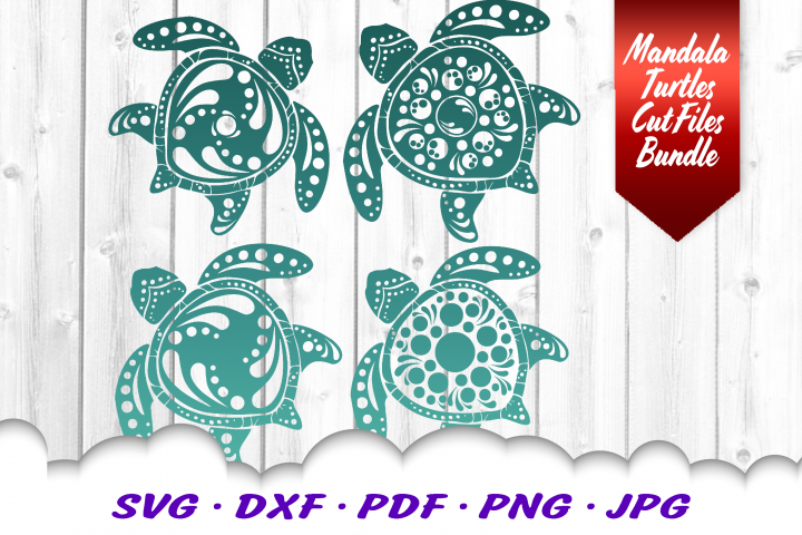 Mandala Sea Turtle SVG DXF Cut Files Crafters Bundle